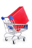 Trolley with gift box isolated Stock Photos