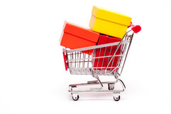 Trolley with gift boxes Stock Image