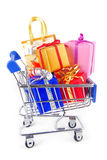 Trolley with gift Royalty Free Stock Photos