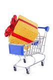 Trolley and gift present Stock Images