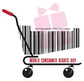 A trolley with gift. A trolley from the store with a gift for the day of World Consumer Rights Day Royalty Free Stock Photography