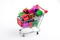 trolley with gifts Royalty Free Stock Photography