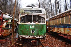 Trolley graveyard. A Abandon Trolley grave yard in the middle of the woods Stock Photography