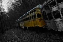 Trolley graveyard Black & white spash yellow Stock Image