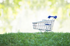 Trolley on green grass, Green Shopping concept Stock Image