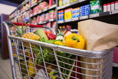 A trolley with healthy food. At supermarket Royalty Free Stock Photo