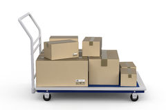 Trolley with heap of storage boxes Stock Photos