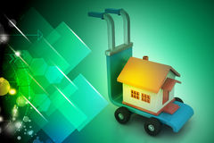 Trolley with house. In color background Royalty Free Stock Photo