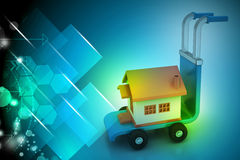 Trolley with house. In color background Royalty Free Stock Image