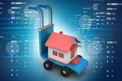Trolley with house. In color background Stock Image