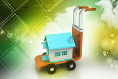 Trolley with house. In color background Royalty Free Stock Photography