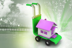 Trolley with house. In color background Stock Images