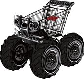 Trolley Jeep. Illustration of an abstract trolley jeep isolated on white Royalty Free Stock Images
