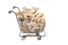 Trolley with letters. Little trolley filled with wooden letters of the alphabet Royalty Free Stock Image