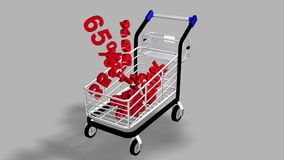 Trolley with a lot of percentages. Concept of discount. Animation of a trolley with a lot of percentages from a supermarket. Concept of discount stock video
