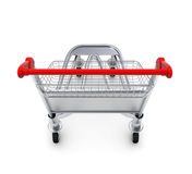 Trolley for luggage at the airport. Isolated on white background Stock Photos