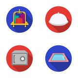 Trolley with luggage, safe, swimming pool, clutch.Hotel set collection icons in flat style vector symbol stock Royalty Free Stock Photos