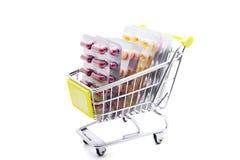 Trolley med medicinen Royaltyfri Bild