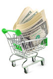Trolley with money concept Stock Image