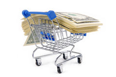 Trolley with money concept Royalty Free Stock Photo