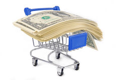 Trolley with money concept Stock Photography
