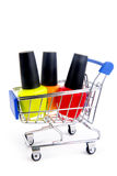 Trolley with nail enamel Royalty Free Stock Photo