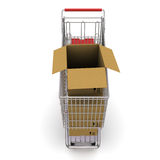 Trolley with an open cardboard box Stock Photography