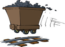 Trolley with ore. On rails vector vector illustration