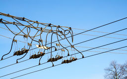 Trolley overhead line wire switch Stock Image