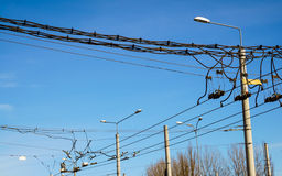 Trolley overhead line wire switch Royalty Free Stock Photo