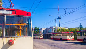 Trolley park, Vilnius Royalty Free Stock Image