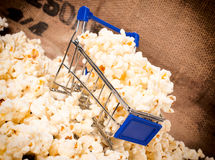 Trolley and pop corn Royalty Free Stock Images