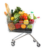 Trolley with produce. Metal shopping trolley isolated on white background Royalty Free Stock Photos