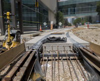 Trolley rails being laid Stock Photos