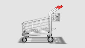 Trolley rotating. Consumerism concept. Animation of en empty Trolley rotating. Consumerism concept stock video footage