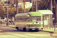 The Trolley. San Francisco Historic Tram ( Trolleycar or Tramcar ) in Sepia Color Grading. San Francisco, California, USA. Historical Transport System Royalty Free Stock Photography