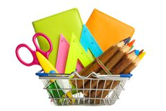 Trolley with school supplies royalty free stock photos