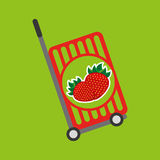 Trolley shop juicy strawberry fruit Stock Images