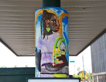 Trolley Stop Art in Memphis, Tennessee. Royalty Free Stock Photos
