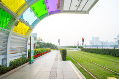 Trolley station. Empty trolley station, colorful arch Stock Photo