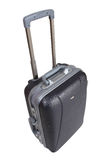 Trolley suitcase. Isolated hard grey suitcase trolley on white background Royalty Free Stock Photo
