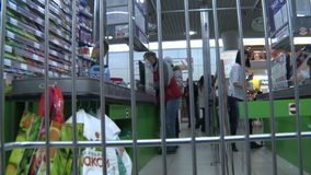 Trolley in supermarket,editorial stock video footage