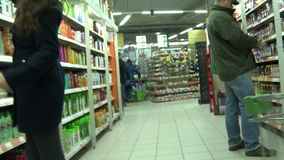 Trolley in supermarket,editorial stock footage