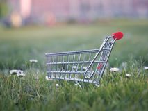 Trolley for supermarket on a lawn of green grass. Stock Image