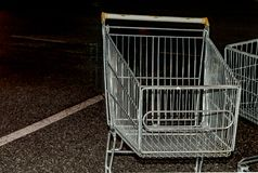 Trolley from supermarket at night parking Close up stock photos