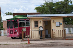 Trolley in Tombstone Arizona. Tombstone in Arizona where the Gunfight at the OK Corral was fought in the USA. It is called the Town too tough to die Stock Photo