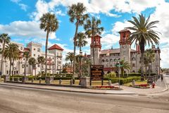 Free Trolley Tour, Casa Monica Hotel And Lightner Museum On Lightblue Cloudy Sky Background At Old Town In Florida`s Historic Coast 4 Royalty Free Stock Photography - 138033527