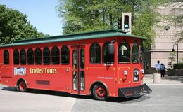 Trolley Tours Downtown Dallas, Texas. Red Dallas Trolley tours downtown, Dallas, Texas Stock Photo