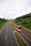 Trolley on track. Image of red trolley track Stock Images