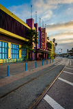 Trolley track and casino along the boardwalk in Santa Cruz  Stock Photography